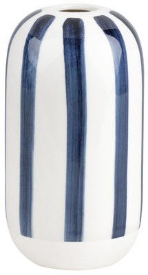Ink Blue - Vase Stoneware Handpainted Stripe(H13cm)